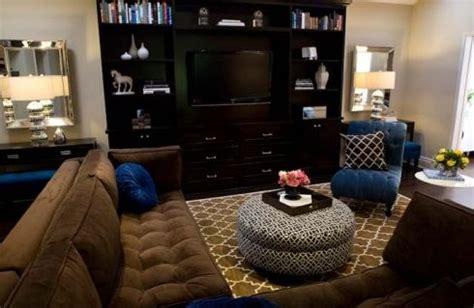 cobalt blue chocolate brown living room design