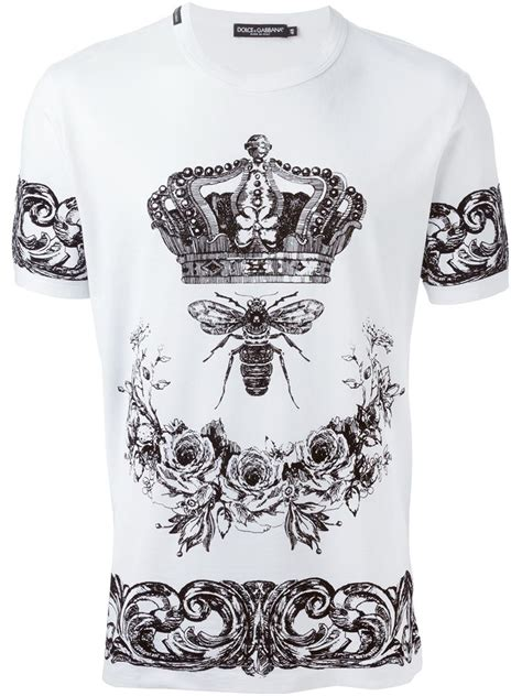 Crown T Shirt dolce gabbana crown bee print t shirt in white for