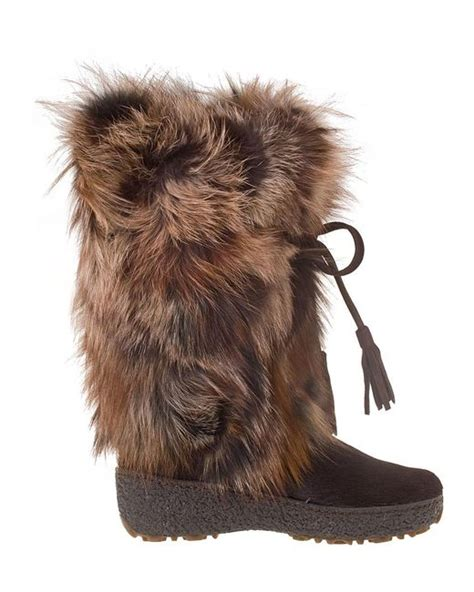 pajar fur boots pajar fox trot fur boots in brown brown leather lyst