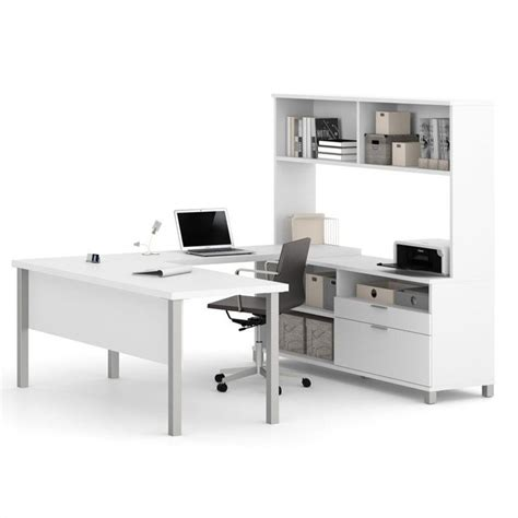 White Computer Desk With Hutch Bestar Pro Linea U Shaped Computer Desk With Hutch In White 120860 17