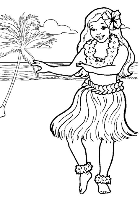 hawaiian boy coloring page free online printable kids colouring pages hula girl