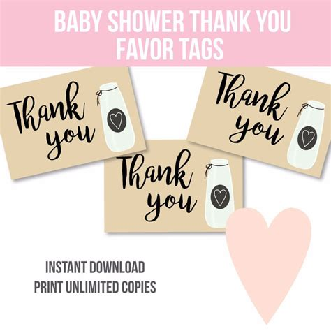 Thank You Baby Shower Favor Tags by Printable Milk Jar Baby Shower Thank You Favor Tags