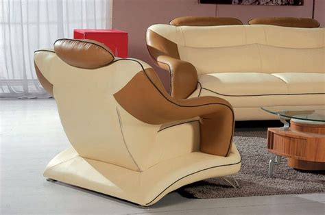 contemporary tan brown bonded leather living room set st 7055 modern beige and brown leather living room set