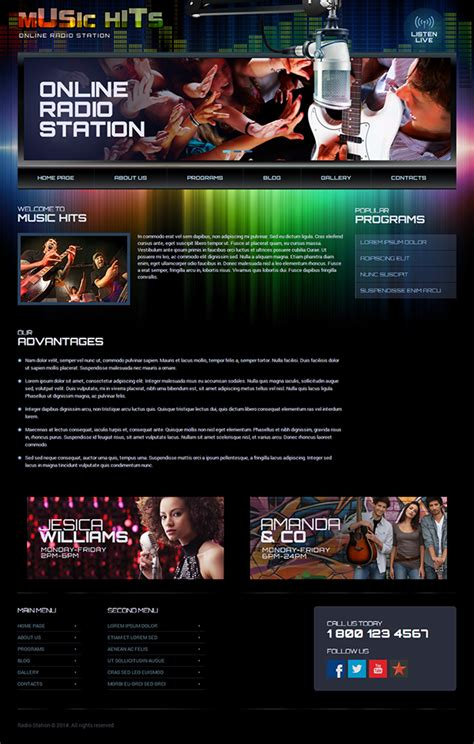 Online Radio Station Wordpress Template On Behance Free Radio Station Website Templates