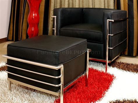 Le Corbusier Style Chair Ottoman Set In Black Leather Le Corbusier Ottoman