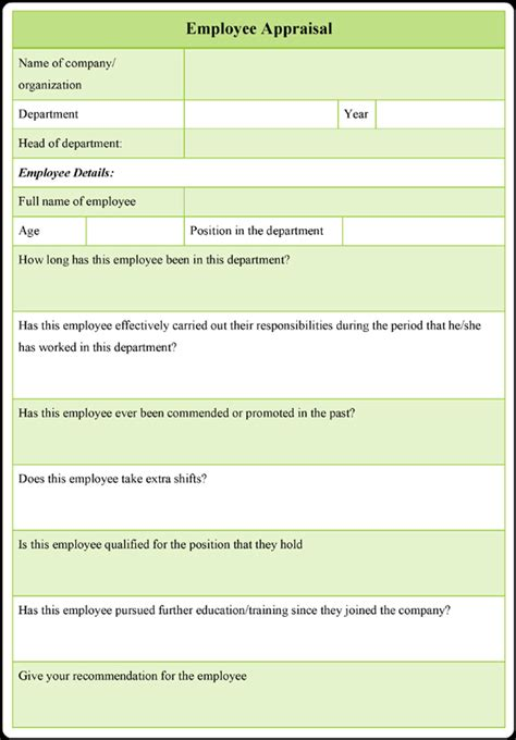 employee performance appraisal form employee appraisal form template 3 sles in