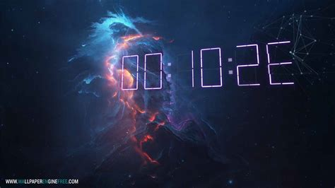 wallpaper engine free wallpapers atlantis fire 3d digital clock wallpaper engine free