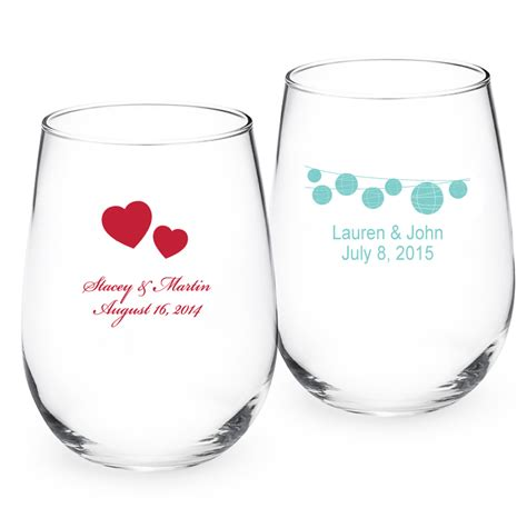 wedding favors wine glasses asian personalized stemless wine glass personalized 9 oz
