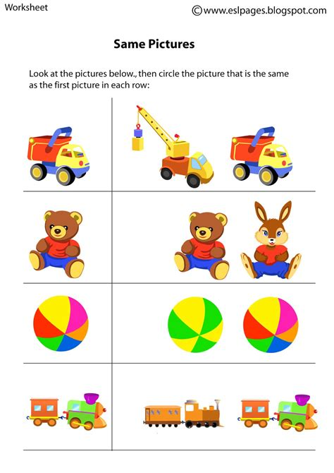 Same And Different Worksheets For Preschool by Esl Pages Same Different Worksheets