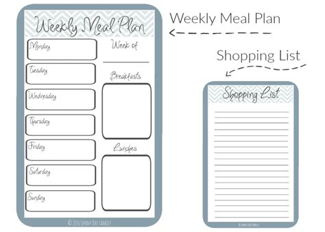weekly meal planner with grocery list template free printable organizer day family
