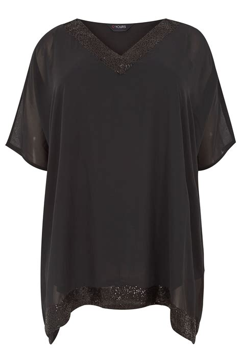 t mobile background check black sequin embellished cape top plus size 16 to 36