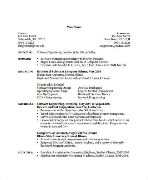 resume format for computer science engineering students computer science resume template 7 free word pdf