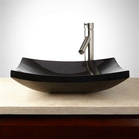 black granite vessel bathroom sinks absolute black curved rectangular granite vessel sink