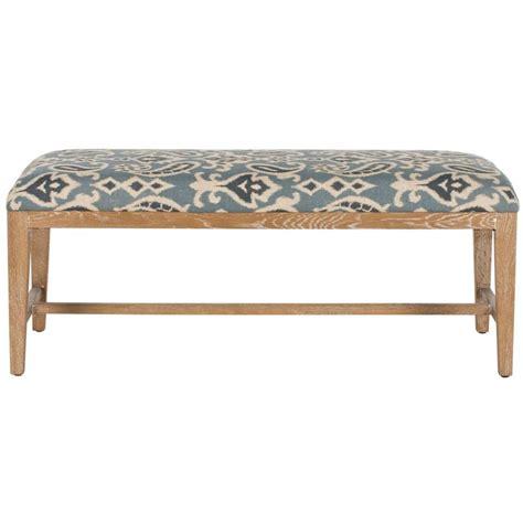 linen bench safavieh zambia linen bench in blue pattern mcr4533d the