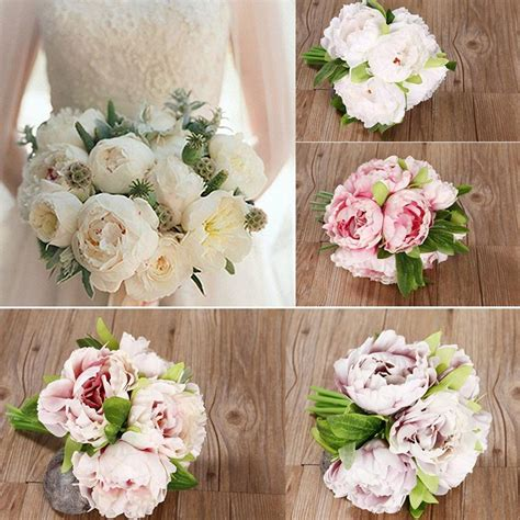 heads vintage artificial peony silk flower wedding home decor picture hot 5 head bouquet vintage artificial peony silk flower