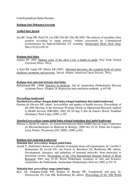 Penulisan Daftar Pustaka Laporan Prakerin | contoh penulisan daftar pustaka medicine health sciences