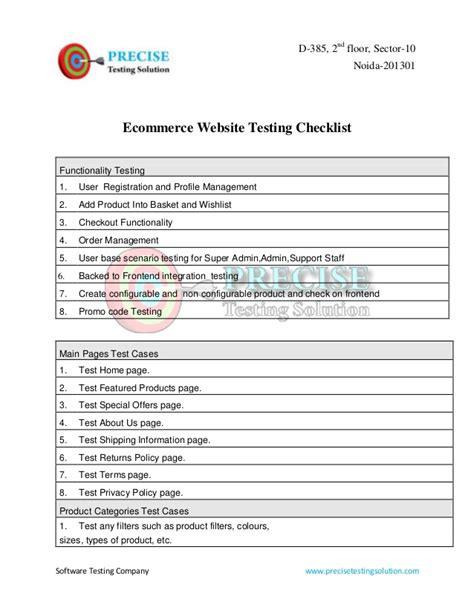 usability review template ecommerce website testing checklist