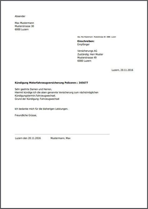 Kfz Versicherung Kündigen Per Einschreiben by K 252 Ndigung F 252 R Autoversicherung Kostenlos Als Pdf