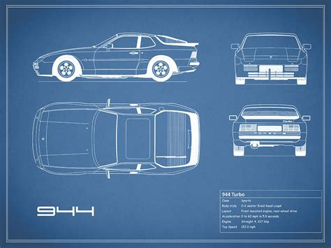 Duvet Company Porsche 944 Blueprint Photograph By Mark Rogan
