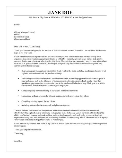 relations account executive cover letter