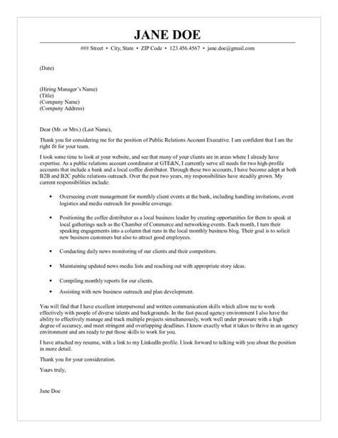 public relations account executive cover letter