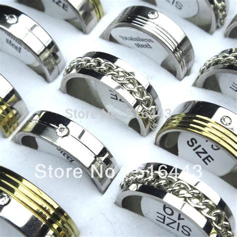 new 10pcs silver gold stainless steel rhinestones mens fashion spin chain rings wholesale