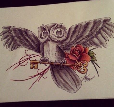 owl rose tattoo owl and drawing ideas