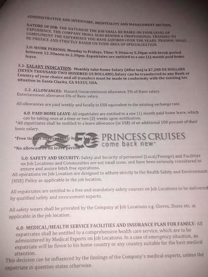 princess cruises employment job offer scam in india beware of fake employment letter