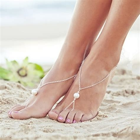 Anklet With Toe Ring fashion barefoot sandal pearls foot ankle