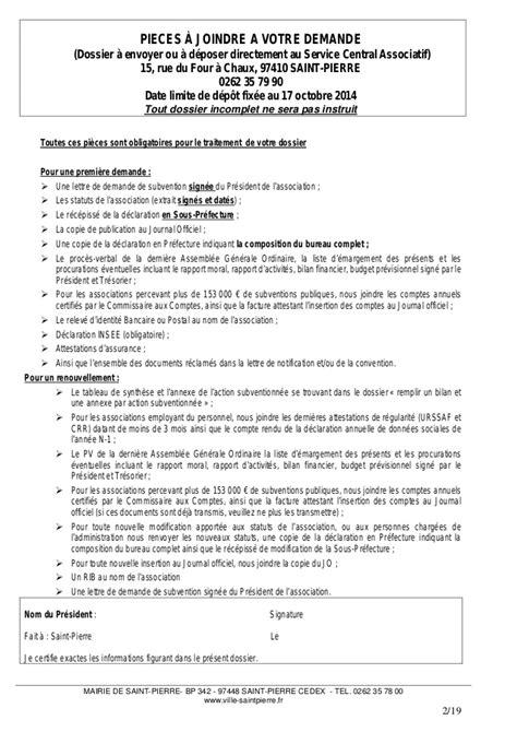 Demande De Subvention Association Lettre Dossier Demande De Subventions Pour Les Associations De