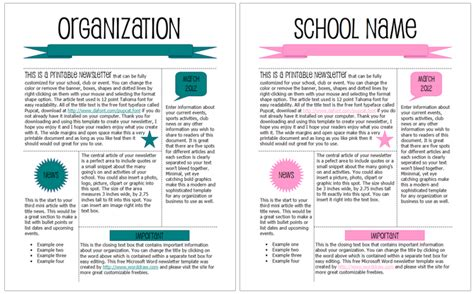 free printable school newsletter templates worddraw free printable newsletter templates