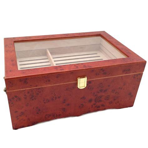 cigar humidor 150 ct luxury burlwood clear top wood cigar humidor ebay