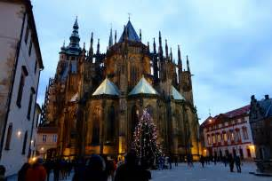 Prague castle and st vitus cathedral at christmas eve