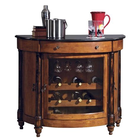 furniture brown wooden built in cabinet with wine storage curved brown glaze wooden mini bar with black marble top