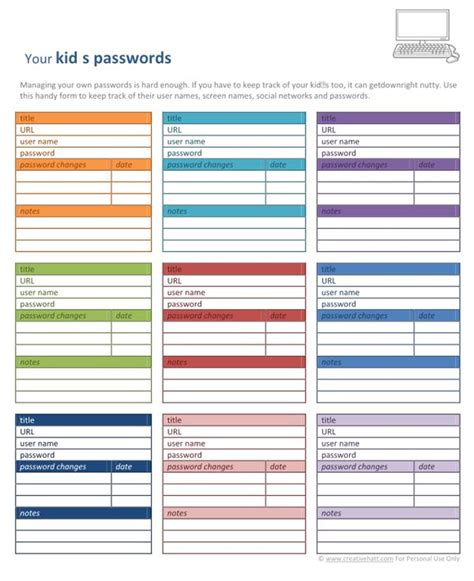 password list template 6 best images of user and password list printable