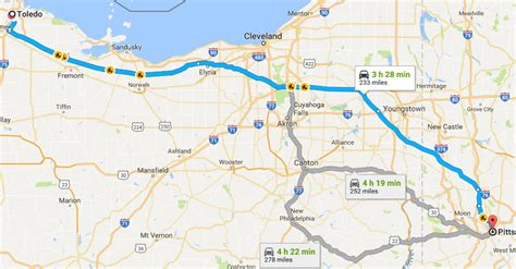 map of ohio turnpike tolls avoiding the pennsylvania turnpike from toledo to