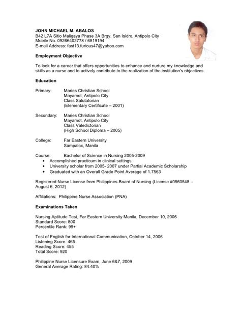 resume format pdf philippines resume sle for application in philippines gallery