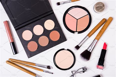 Make Up Tools professional makeup tools flatlay on white background