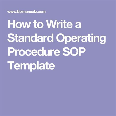 writing sops template 25 best ideas about standard operating procedure on