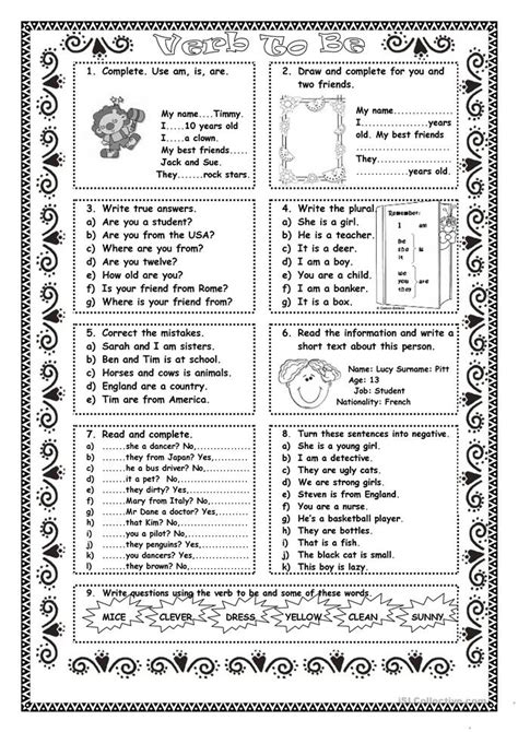 printable games with the verb to be verb to be practice worksheet free esl printable
