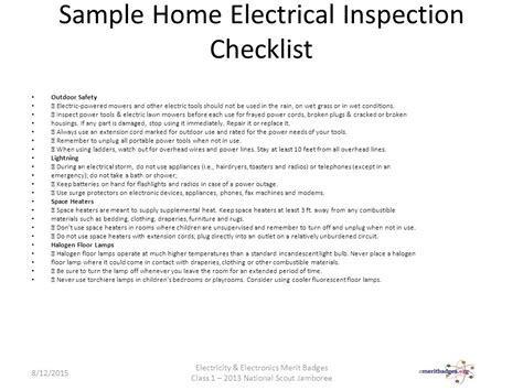 in electrical inspection checklist 28 images the