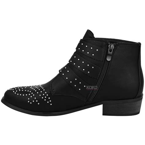 New Heel Boot Coboy new womens vintage studded ankle boots biker low