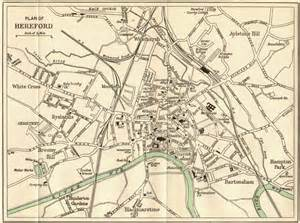 hereford map hereford hereford town plan c1950 vintage map