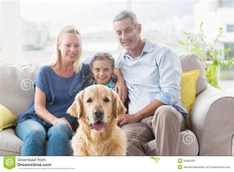 golden retriever for free to home family with golden retriever at home stock image image 50492491