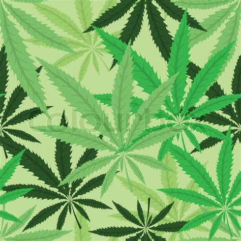 Camouflage Home Decor by Green Hemp Floral Seamless Background Cannabis Leaf