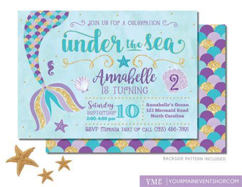 printable under the sea birthday invitations mermaid birthday invitation mermaid invite under the