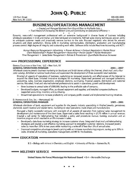 Resume Summary Sle For Operations Manager Resume Sle Professional Resume Sle