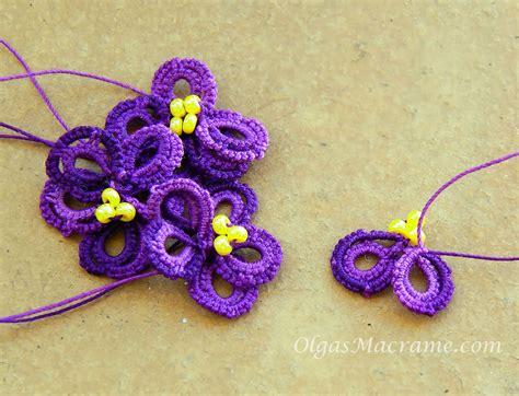 Macrame Flower Knot - macrame flower violet