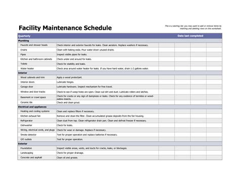 facility management template best photos of facility maintenance log template