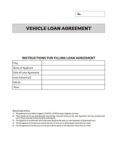 Loan Agreement Form Template Auto Loan Template Free
